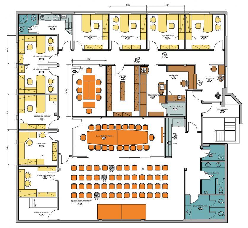 plan des bureaux immeuble de bureaux de plan illustration. Black Bedroom Furniture Sets. Home Design Ideas